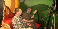 Warren Spector rides Peter Pan's Flight at Disney World